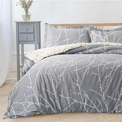 Bedsure Duvet Cover Set Double - Branch Pattern Microfiber Bedding Sets 3 pcs with Zipper Closure, Grey & Ivory, 200x200cm