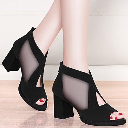 Jqdyl Tacones Spring New Thick con sandalias de boca de pescado mujeres zapatos de malla impermeables de tacones altos