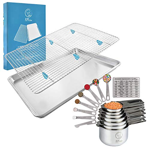 "KPKitchen Stainless Steel Measuring Cups and Spoons Set of 14 and Baking Sheet & Rack Set - 7 Cup and 7 Spoon Metal Measure Sets - Aluminum Pan (18"" x 13"") + Stainless Cooling Rack (16.8"" x 11.8"")"