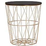SPRINGOS cesta de alambre con tapa, mesa auxiliar redonda, medidas: 40 x 35 cm (alto x ancho), mesa de alambre, cesta para periódicos (cobre-negro, 40 x 35 x 35 cm)