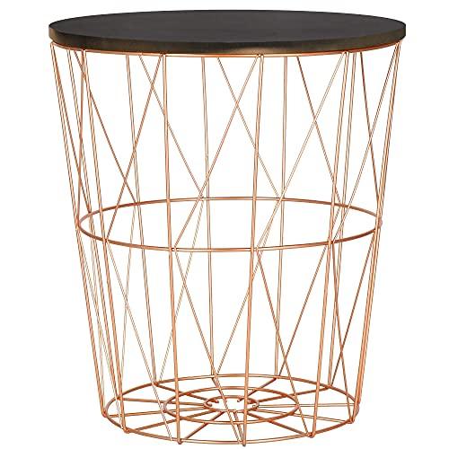 SPRINGOS Mesa auxiliar con cesta extraíble, tablero de la mesa y cesta de metal con tapa. Dimensiones: 45 x 40 cm (alto x ancho), capacidad de carga de 10 kg (cobre-negro, 45 x 40 x 30,5 cm).