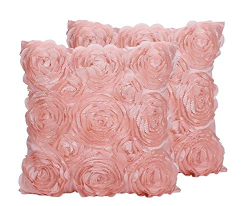 SeptCity Decorative Throw Pillow Covers for Couch Cushion Case, Romantic Love Satin Rose Wedding Party Home Decor, Home Gift (Set of 2)- #Pink