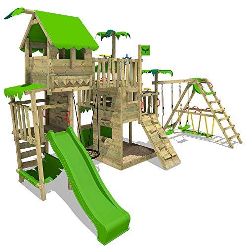 FATMOOSE Parque infantil de madera PacificPearl con columpio SurfSwing y tobogán manzana verde Casa de juegos de jardín con arenero y escalera para niños