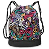 DDHHFJ Multifunctional Drawstring Backpack for Men & Women, Music Themed Hand Drawn Abstract...