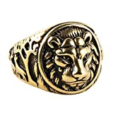 HZMAN Men's Vintage Stainless Steel Ring Lion Head Shield Biker Gold / Silver