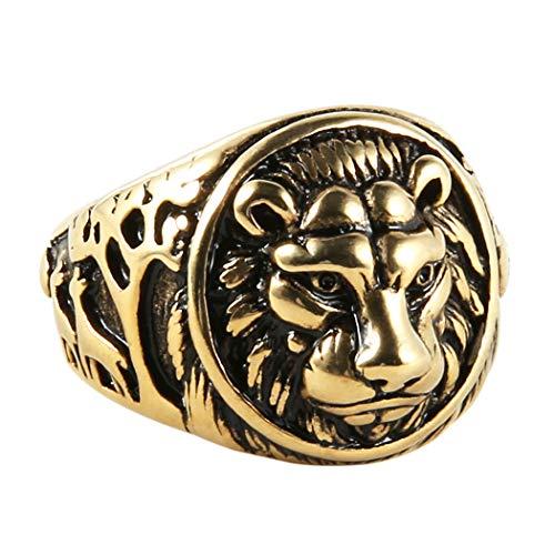 HZMAN Men's Vintage Stainless Steel Ring Lion Head Shield Biker Gold/Silver