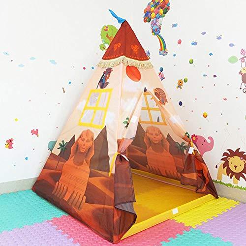 Kinderzelt Spielzelt Teepee Tipi Set Pyramide Thema Kinderzimmer Outdoor & Indoor Spielzeug mit Zubehör Tipizelt, Mädchen Spielhaus aus Baumwolle Segeltuch