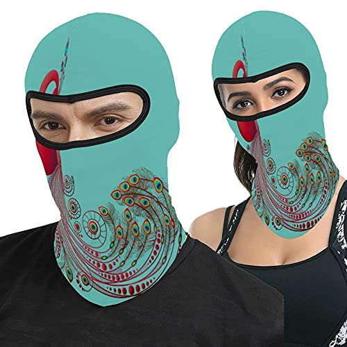 Lesif Peacock Red Feather Patterns Artistic Teal Blue Full Face Ma-sk Hood Headwear Breathable Balaclavas for Outside Sports Hunting Cycling Motocycling Men Women