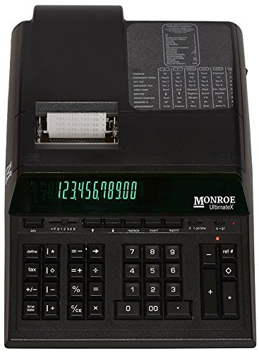 Monroe Calculator UltimateX Printing Calculator/Adding Machine with Tape, 10-Key, Reprinting and Editing Capabilities for Desk in Black