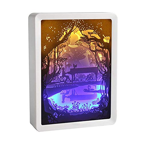 Paper Carving Light Lamp, 3D Light and Shadow Night Lamp Paper Carving Art Crafts, Piano Couple Panda Innovative Papercut Light Boxes for Christmas Thanksgiving Day Valentine's Day Decoration