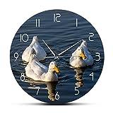 Leeypltm Ganso en el Lago Reloj de Pared Moderno,Grandes Decorativos Silencioso Interior Reloj de...