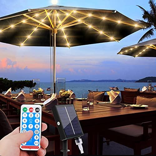 Iluminación solar para sombrilla con 104 luces LED con mando a distancia, 8 modos, IP67, resistente al agua, para fiestas, Navidad, Halloween, decoración de tiendas de campaña.