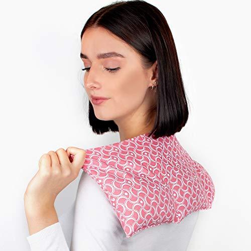 WÄRMEKISSEN Körnerkissen für Entspannung bei Nacken, Schulter-Verspannungen - Das LADY Kissen - 3-Kammer Schulterkissen, 100% Baumwolle 50x25cm - Rosa weiß