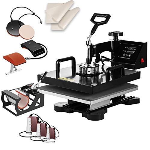 "SHZOND 15""x 15"" Heat Press Machine Heat Transfer Machine for T Shirts Hat Mug Plate (8 in 1)"