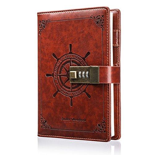 Notizbuch MOHOO Tagebuch Password Notebook Vintage-PU-Leder-Tagebuch Password Diary Book Notizblock mit Zahlenschloss 112 seiten Vintage Notebook(Valentinstag Gift)