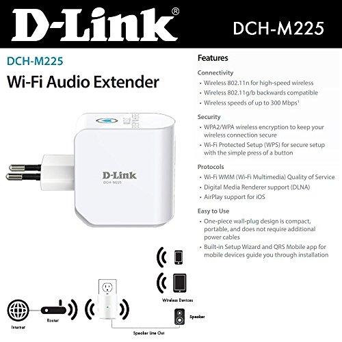 D-Link DCH-M225/B mydlink Home Music Everywhere Wi-Fi Audio Extender