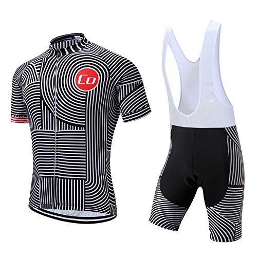 Summer Men's Cycling Jersey Road Bike Jersey Cycling Bib Shorts with 4D Padded Cycling Clothing Set for Men (L,1018) Idaho