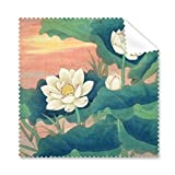 Lotus Bud - Gafas de pintura clásicas de porcelana con diseño de hoja de sol roja de loto, color verde y azul, 5 unidades