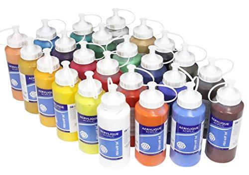 Meister 24 x Acrylfarbe je 500 ml, komplettes MEGA-SPARSET, original MAGI hochwertige Künstler Farben (kein Dekoacryl)