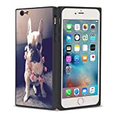 Pingge iPhone 6 iPhone 6S Case French Bulldog with Pink Flowers Slim Rectangle Full Body Shockproof Protective Cellphone Case Black Frame Case for iPhone 6 iPhone 6S