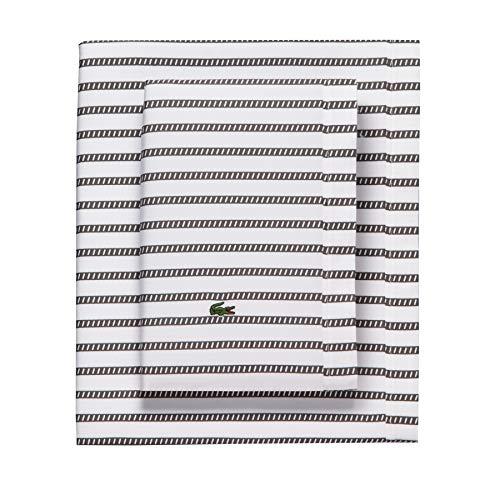 Lacoste 100% Cotton Percale Sheet Set Graphic Stripe Print Dark Grey Twin Extra Long