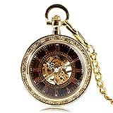 DYH&PW Relojes Reloj de Bolsillo mecánico Dorado de Estilo Antiguo clásico
