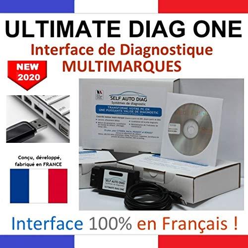 Self Auto Diag Ultimate DIAG One; Interfaz de diagnóstico MULTIMARCAS, versión Memoria USB; Maleta de diagnóstico para Coche, en francés