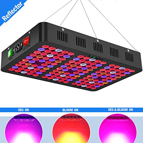 Mieemclux 1500W LED Grow Light with Reflector, Daisy Chained Design Full Spectrum LED Plant Growing Light with Triple-Chips for All Indoor Plants (Bloom & Veg Switch) Black