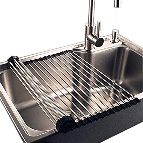 Hihamer Abtropfgestell Küchenregal Abtropfgitter Geschirrabtropfer für Geschirr Spüle aus Edelstahl, Verstellbar