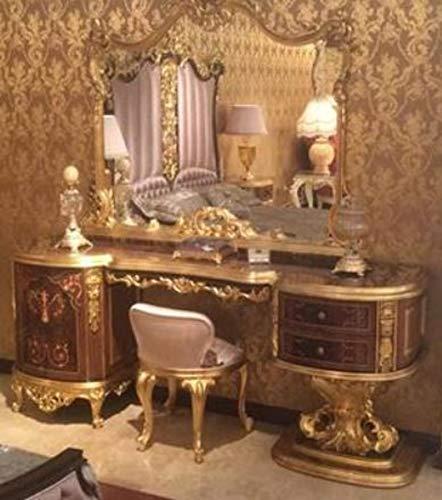 Casa Padrino Conjunto de Dormitorio Barroco de Lujo marrón/Rosa/Oro Antiguo - 1 Tocador y 1 Espejo y 1 Taburete - Muebles de Dormitorio magnífico en Estilo Barroco - Calidad de Lujo