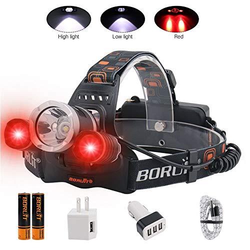 Boruit T6 Wiederaufladbare Stirnlampe mit 3 Modi, superhell, wasserdicht und zoombar, geeignet für Skifahren, Camping, Laufen, Wandern, 4350250486, 5000 red, Red&White Lights