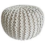 casamia Taburete de punto Pouf de 45 cm de diámetro, asiento puff de punto grueso, cojín de suelo, altura de 30 cm, color blanco