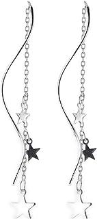 Dainty Star Tassel Threader Drop Earrings Sterling Silver for Women Girls Cute Long Chain Dangle Earring Ear Line Fashion ...