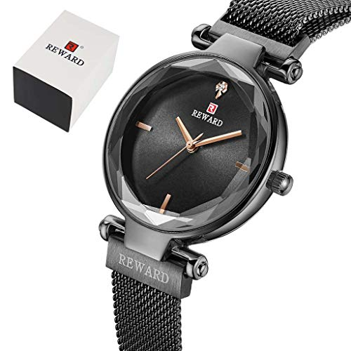 OZQP 30M Waterproof Ladies Watch Imported Quartz Movement Starry Diamond Magnetic Buckle Milan Mesh Belt Fashion Student Watch Sports and Leisure Timer,Black