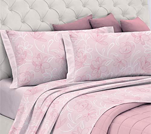 Gemitex - Juego de sábanas de Franela 100% algodón, para Cama de Matrimonio, línea Enjoy, diseño G10, Variante 03 Rosa, con Tratamiento antiparpadeo