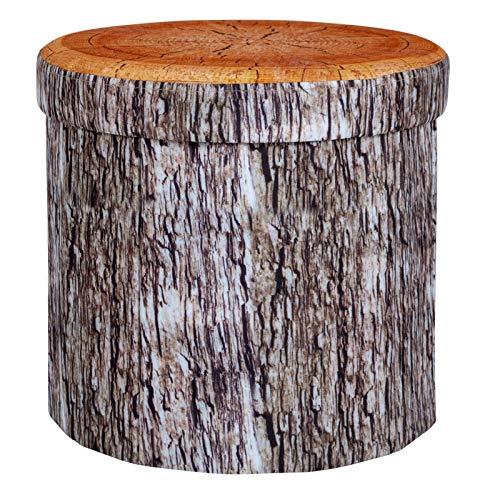 Sitzhocker Ø38x36 cm im Baumstammdesign faltbar und gepolstert • Sitz Hocker Aufbewahrungsbox Camping Sitzwürfel Organizer Deko Baumstamm Campingmöbel Pouf
