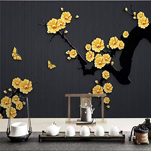ZJfong 3D Photo Wallpaper Klassieke Sieraden Plum Slaapbank Woonkamer TV Achtergrond Muur Home Decoratie 220 x 140 cm.