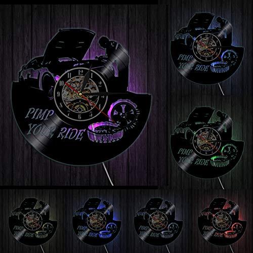 mbbvv Pimp Your Ride Theme Reparación de Disco de Vinilo de Coche Reloj de Pared Diseño Moderno Reloj de Pared de Garaje Creativo Decoración de Servicio mecánico de Coche
