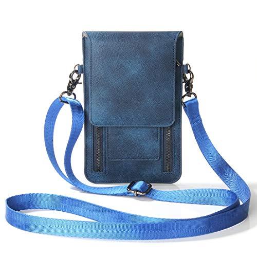 SZCINSEN Bolso bandolera pequeño con múltiples bolsillos con cremallera, bolso de mensajero ligero, bolso de hombro funcional, bolso bandolera para el teléfono móvil (color azul)