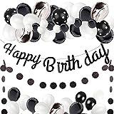 Golray Black White Birthday Party Decorations, Black Happy Birthday Banner, Black Agate Balloons Garland, Glitter Black Dot Banner Hanging for Baby Shower Black Birthday Halloween Party Decor Supplies