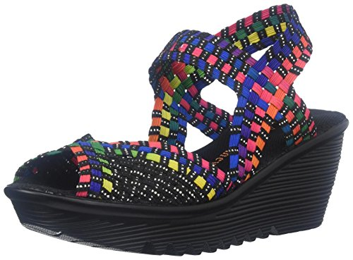 Bernie Mev Women's Fame Wedge Sandal, Black Multi, 38 EU/7.5-8 M US