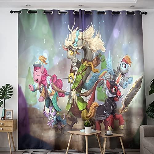 Cortinas opacas para dormitorio My Little Pony Through Ogres and Oubliettes elegantes y cómodas cortinas en la sala de estar de 106,7 x 157,5 cm