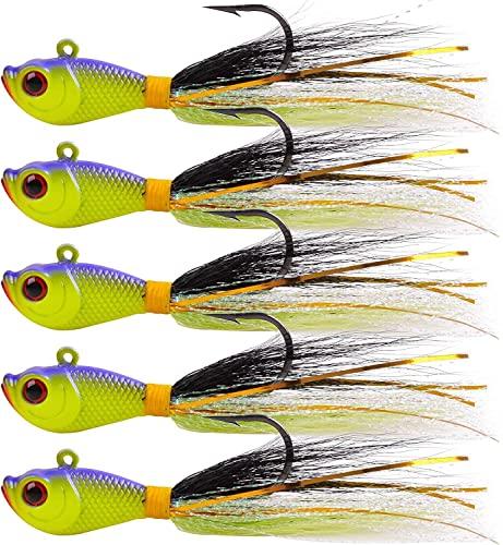 Pesca Agua 5pcs Jigs Pesca de Pesca Cebos Flounder Striper Pesca Pasciciones con la Cola Bajo de Agua Salada 0.25oz 0.5oz 1oz 1.5oz 2oz (Color : Green/White, Size : 1oz)