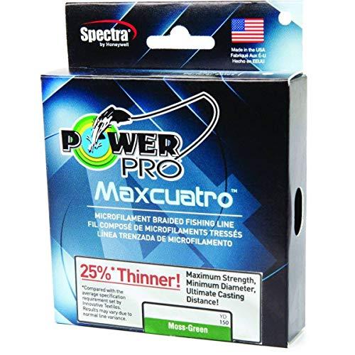 POWER PRO 33400800500E Maxcuatro Braided Fishing Line, 80 lb/500 yd, Moss Green