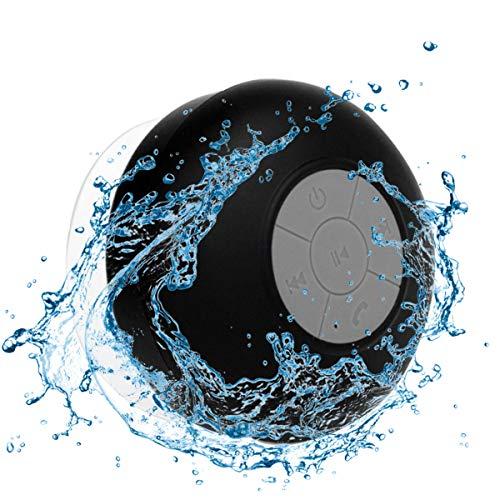 Tragbares Mini-Duschradio, Duschradio, Bluetooth-Lautsprecher, wasserdicht, kabellos, mit Saugnapf, Schwarz