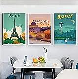 YHJK Pintura de la Lona Paisaje de la Ciudad turística de fama Mundial Simple Retro Paisaje de París póster Arte de la Pared Imagen Impresa decoración del hogar 3x50x70cm sin Marco