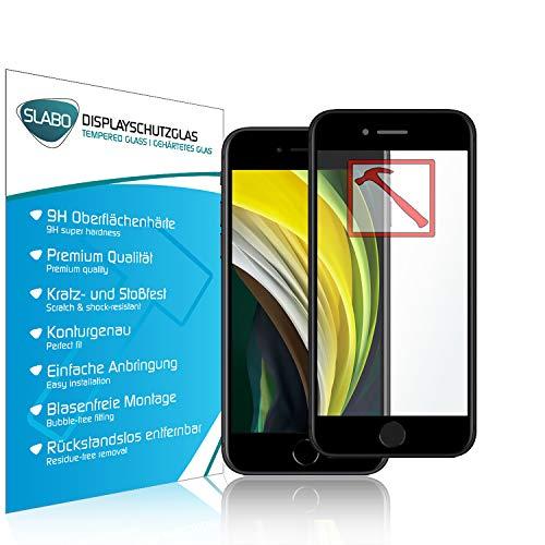 Slabo Premium Full Cover Pellicola Protettiva in Vetro Temperato per iPhone SE 2020   iPhone 8   iPhone 7   iPhone 6S   iPhone 6 Tempered Glass Crystal Clear Graffi Fino a 9H - Telaio Nero