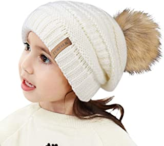 Kids Girls Boys Winter Knit Beanie Hats Faux Fur Pom Pom Hat Bobble Ski Cap Toddler Baby Hats 1-6 Years Old