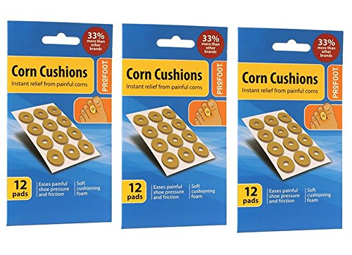 Profoot Corn Cushions Relief From Painful Corns Soft Cusioning Foam - 12 pads X 3