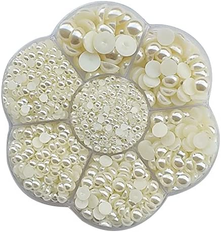 Chenkou Craft Random 1900pcs Assorted 7 Sizes Imitation Half Pearl Flatback Bead Scrapbook Craft product image